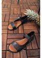 Oksit Yagmur Oval Kadın Sandalet Siyah